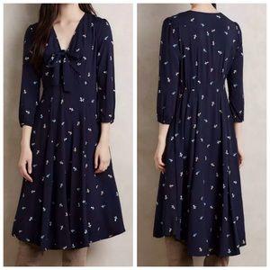 11.1 Tylho Acadie Tie Neck Floral Print Dress | M